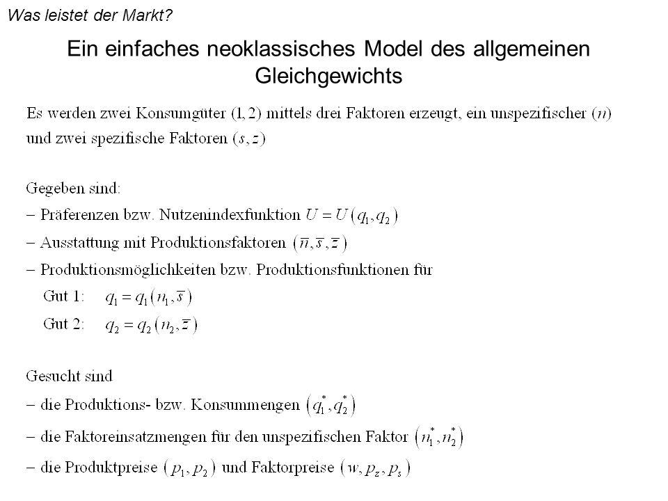Ein einfaches neoklassisches Model des allgemeinen Gleichgewichts Was leistet der Markt?