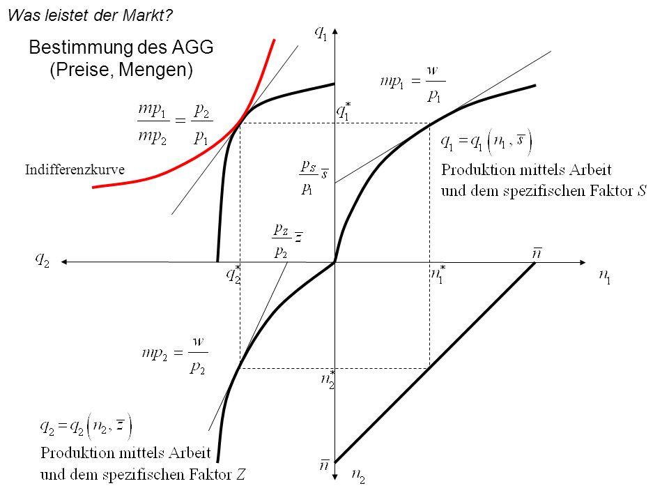 Bestimmung des AGG (Preise, Mengen) Indifferenzkurve Was leistet der Markt?