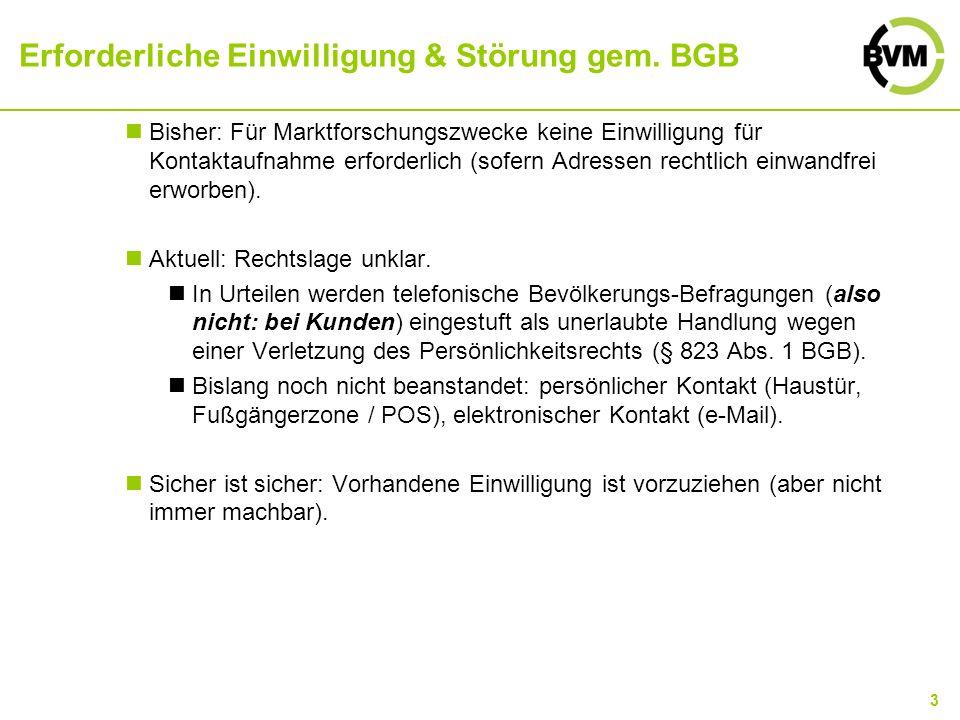 3 Erforderliche Einwilligung & Störung gem. BGB Bisher: Für Marktforschungszwecke keine Einwilligung für Kontaktaufnahme erforderlich (sofern Adressen