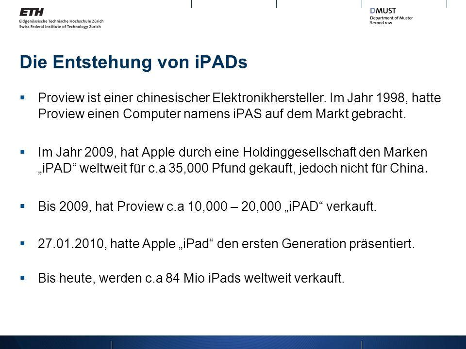 Quellen http://en.wikipedia.org/wiki/Proview_International_Holdings _Ltd http://en.wikipedia.org/wiki/Proview_International_Holdings _Ltd http://www.spiegel.de/netzwelt/gadgets/streit-um-ipad- namensrechte-proview-lehnt-apples-angebot-ab-a- 831768.html http://www.spiegel.de/netzwelt/gadgets/streit-um-ipad- namensrechte-proview-lehnt-apples-angebot-ab-a- 831768.html
