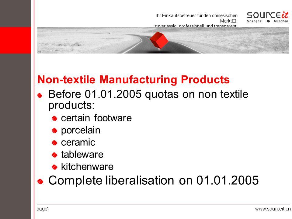 Ihr Einkaufsbetreuer für den chinesischen Markt: zuverlässig, professionell und transparent. pagewww.sourceit.cn 8 Non-textile Manufacturing Products