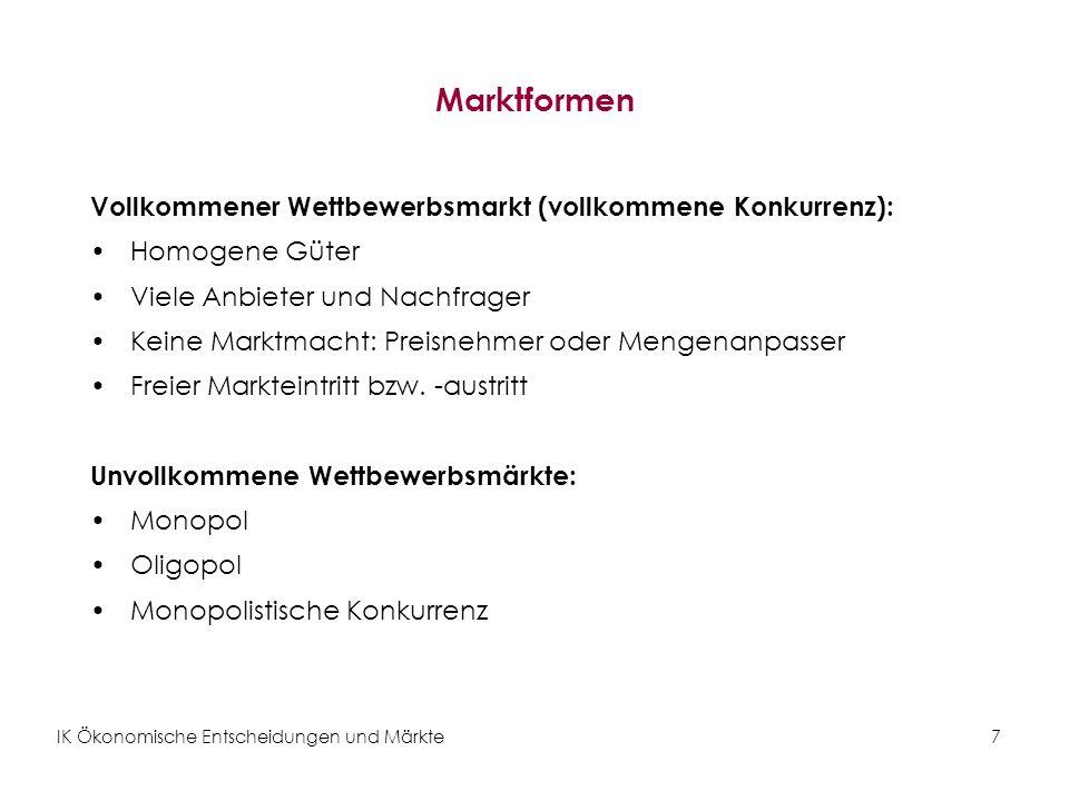 IK Ökonomische Entscheidungen und Märkte7 Marktformen Vollkommener Wettbewerbsmarkt (vollkommene Konkurrenz): Homogene Güter Viele Anbieter und Nachfr