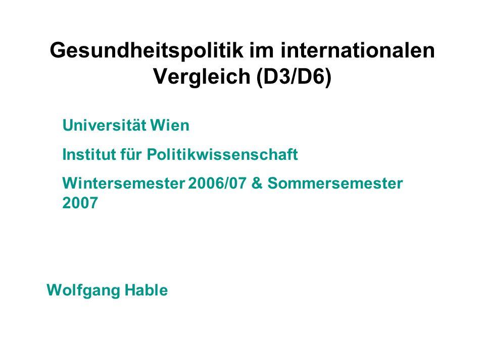 Gesundheitspolitik im internationalen Vergleich (D3/D6) Universität Wien Institut für Politikwissenschaft Wintersemester 2006/07 & Sommersemester 2007