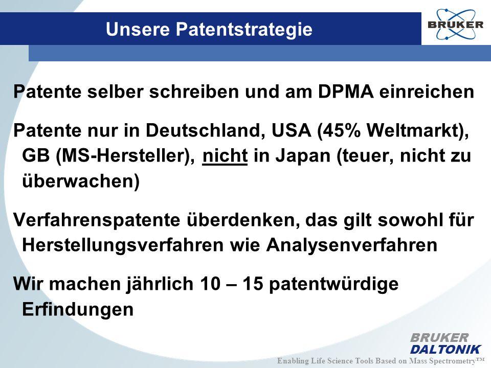 Enabling Life Science Tools Based on Mass Spectrometry BRUKER DALTONIK Unsere Patentstrategie Patente selber schreiben und am DPMA einreichen Patente nur in Deutschland, USA (45% Weltmarkt), GB (MS-Hersteller), nicht in Japan (teuer, nicht zu überwachen) Verfahrenspatente überdenken, das gilt sowohl für Herstellungsverfahren wie Analysenverfahren Wir machen jährlich 10 – 15 patentwürdige Erfindungen