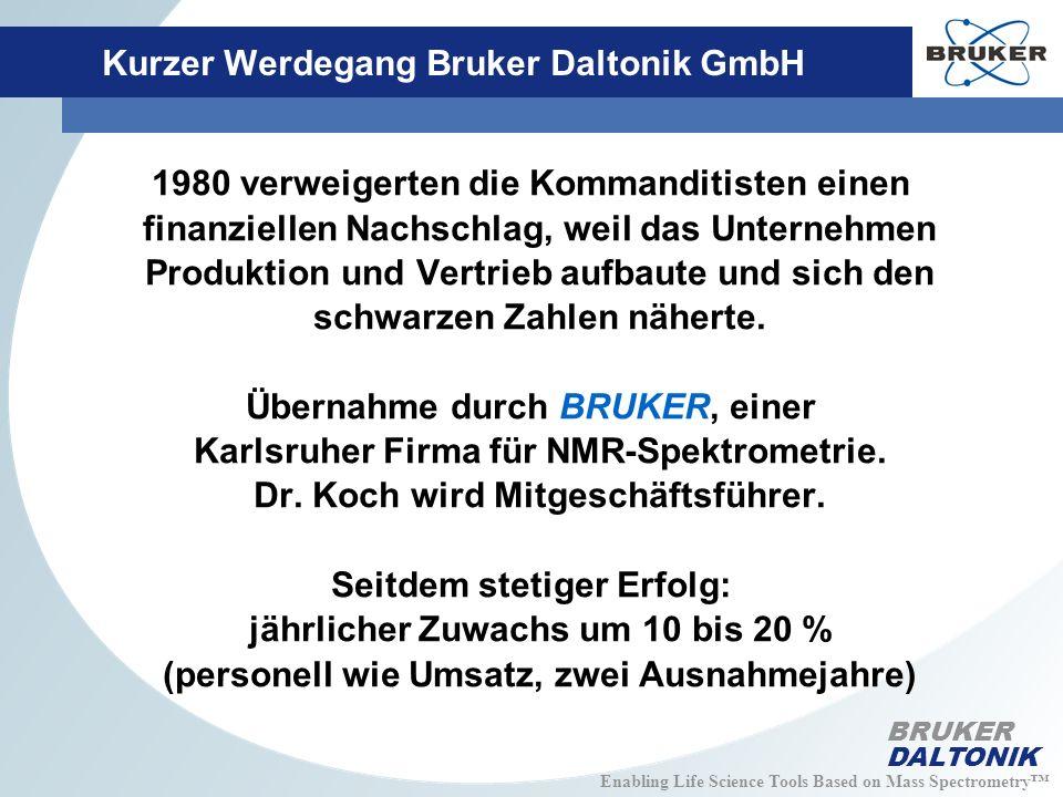 Enabling Life Science Tools Based on Mass Spectrometry BRUKER DALTONIK Kurzer Werdegang Bruker Daltonik GmbH 1980 verweigerten die Kommanditisten einen finanziellen Nachschlag, weil das Unternehmen Produktion und Vertrieb aufbaute und sich den schwarzen Zahlen näherte.