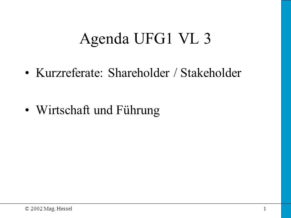 © 2002 Mag. Hessel1 Agenda UFG1 VL 3 Kurzreferate: Shareholder / Stakeholder Wirtschaft und Führung