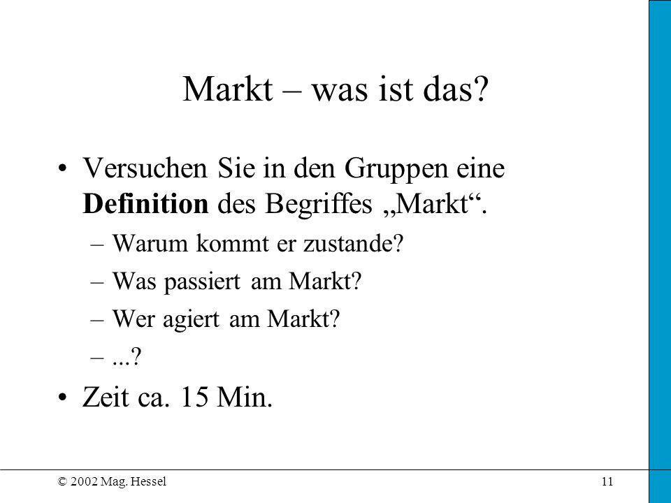 © 2002 Mag. Hessel11 Markt – was ist das? Versuchen Sie in den Gruppen eine Definition des Begriffes Markt. –Warum kommt er zustande? –Was passiert am