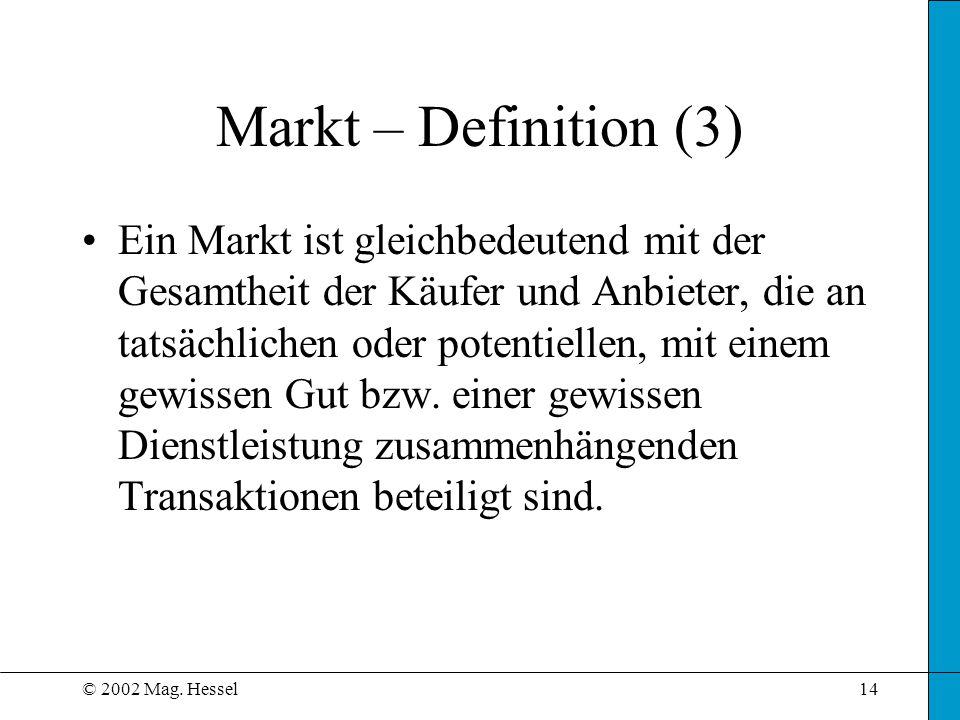 © 2002 Mag. Hessel14 Markt – Definition (3) Ein Markt ist gleichbedeutend mit der Gesamtheit der Käufer und Anbieter, die an tatsächlichen oder potent