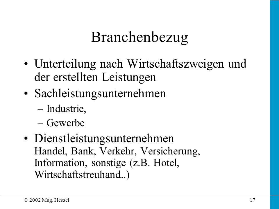 © 2002 Mag. Hessel17 Branchenbezug Unterteilung nach Wirtschaftszweigen und der erstellten Leistungen Sachleistungsunternehmen –Industrie, –Gewerbe Di