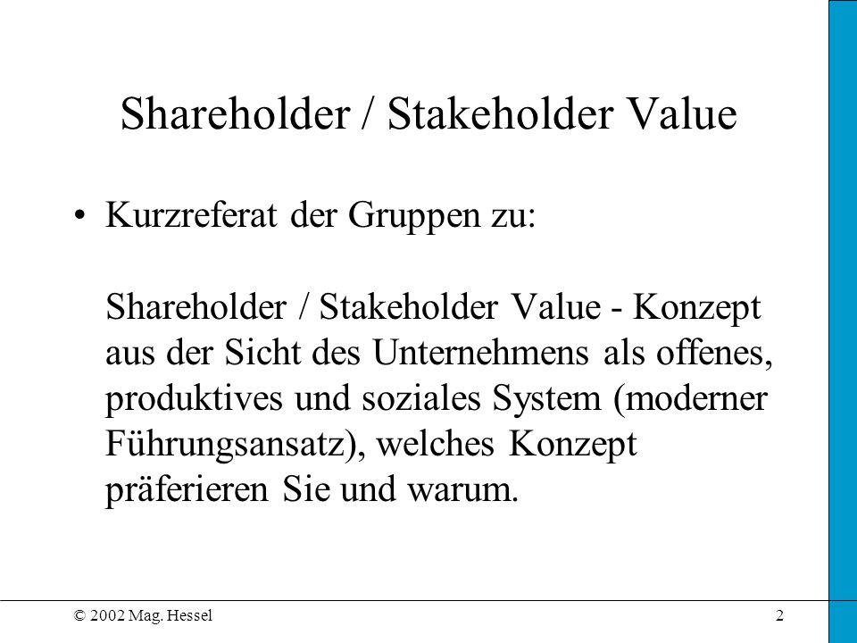 © 2002 Mag. Hessel2 Shareholder / Stakeholder Value Kurzreferat der Gruppen zu: Shareholder / Stakeholder Value - Konzept aus der Sicht des Unternehme