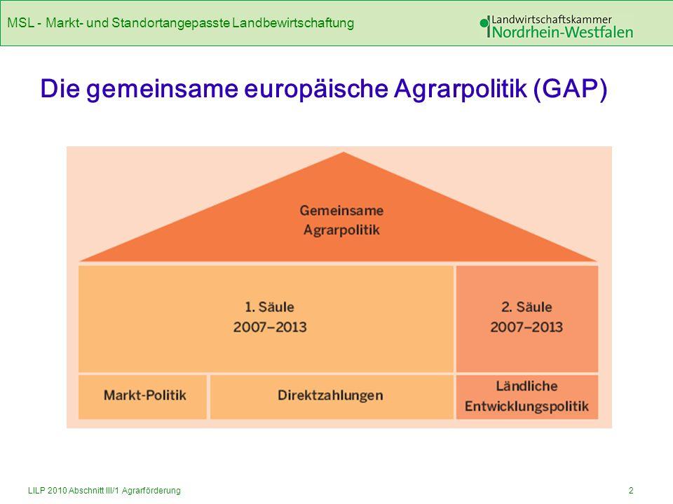 MSL - Markt- und Standortangepasste Landbewirtschaftung 13LILP 2010 Abschnitt III/1 Agrarförderung Höhe der Zuwendung (B) Bemessungsgrundlage Die Höhe der jährlichen Zuwendung beträgt je Hektar Dauergrünland 100 Euro.
