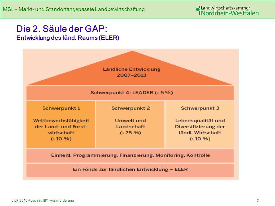 MSL - Markt- und Standortangepasste Landbewirtschaftung 4LILP 2010 Abschnitt III/1 Agrarförderung Schwerpunkt 2: Verbesserung der Umwelt und Landschaft