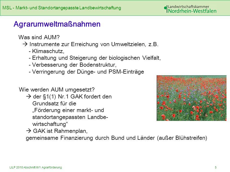MSL - Markt- und Standortangepasste Landbewirtschaftung 6LILP 2010 Abschnitt III/1 Agrarförderung Was wird im Rahmen der MSL gefördert.