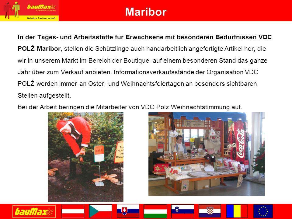 Maribor In der Tages- und Arbeitsstätte für Erwachsene mit besonderen Bedürfnissen VDC POLŽ Maribor, stellen die Schützlinge auch handarbeitlich angefertigte Artikel her, die wir in unserem Markt im Bereich der Boutique auf einem besonderen Stand das ganze Jahr über zum Verkauf anbieten.