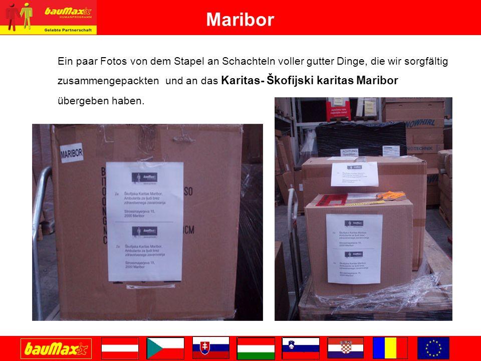 Maribor Ein paar Fotos von dem Stapel an Schachteln voller gutter Dinge, die wir sorgfältig zusammengepackten und an das Karitas- Škofijski karitas Maribor übergeben haben.