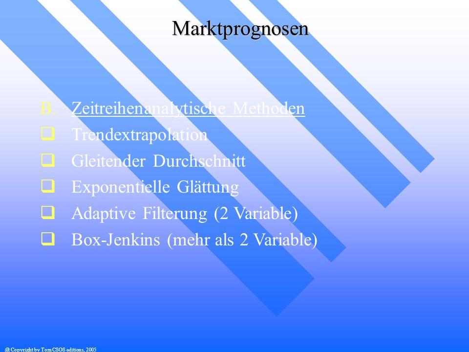 @ Copyright by Tom CSOS editions, 2005 Marktprognosen B.Zeitreihenanalytische Methoden Trendextrapolation Gleitender Durchschnitt Exponentielle Glättu
