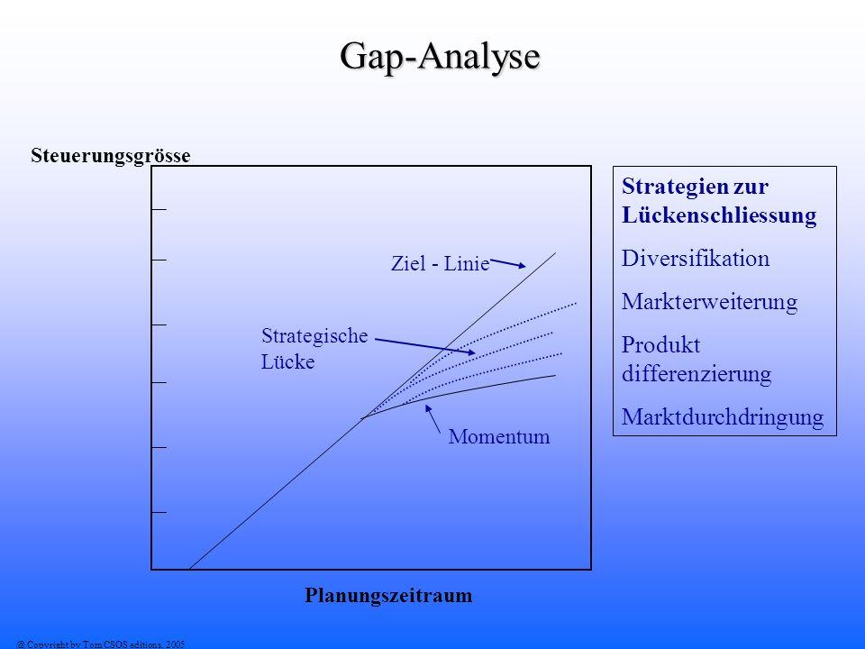 @ Copyright by Tom CSOS editions, 2005 Gap-Analyse Ziel - Linie Momentum Strategische Lücke Planungszeitraum Steuerungsgrösse Strategien zur Lückensch