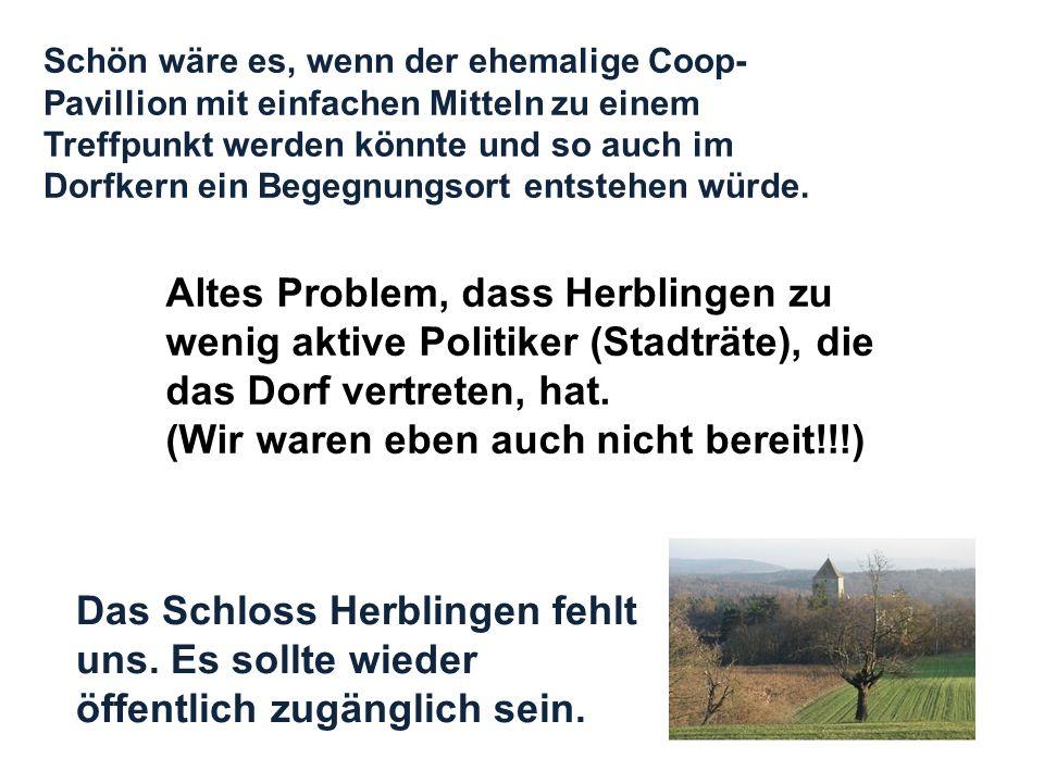 Das Schloss Herblingen fehlt uns. Es sollte wieder öffentlich zugänglich sein. Altes Problem, dass Herblingen zu wenig aktive Politiker (Stadträte), d