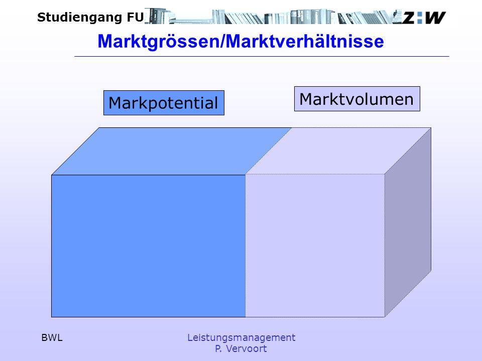 Studiengang FU BWLLeistungsmanagement P. Vervoort Marktgrössen/Marktverhältnisse Markpotential Marktvolumen