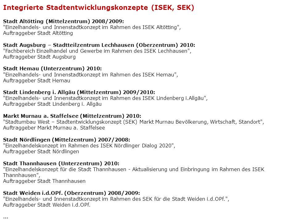 Markt Altenstadt (Iller) (Kleinzentrum) 2011: Einzelhandelskonzept für den Markt Altenstadt , Auftraggeber Markt Altenstadt (Iller) Markt Fischach (Kleinzentrum) 2010: Einzelhandelskonzept für den Markt Fischach , Auftraggeber Markt Fischach Stadt Neustadt b.