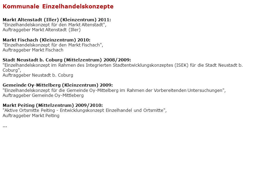 Stadt Augsburg (Oberzentrum) 2005: Verschiedene Projektgutachten zur Verträglichkeit von Lebensmitteleinzelhandelsansiedlungen im Stadtgebiet, Auftraggeber Stadt Augsburg Stadt Dillingen a.d.