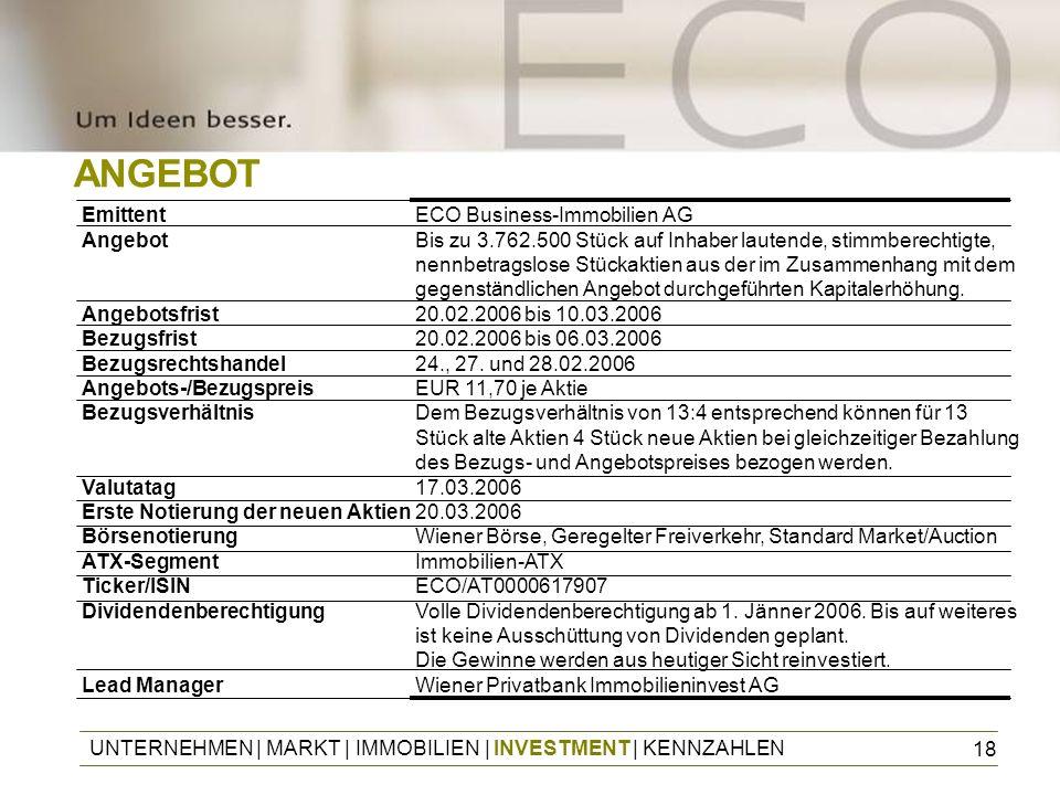 18 EmittentECO Business-Immobilien AG AngebotBis zu 3.762.500 Stück auf Inhaber lautende, stimmberechtigte, nennbetragslose Stückaktien aus der im Zus