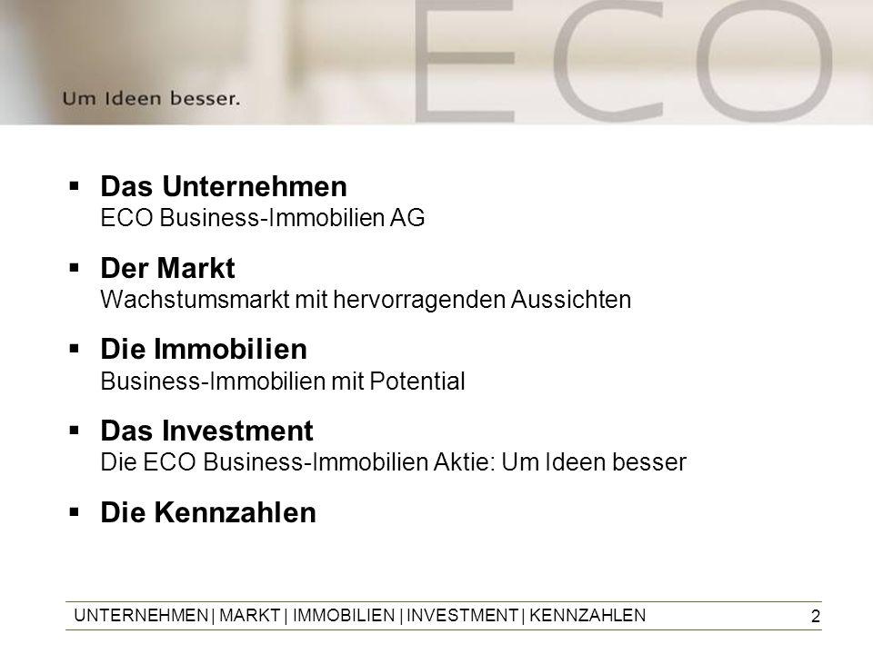 2 Das Unternehmen ECO Business-Immobilien AG Der Markt Wachstumsmarkt mit hervorragenden Aussichten Die Immobilien Business-Immobilien mit Potential D