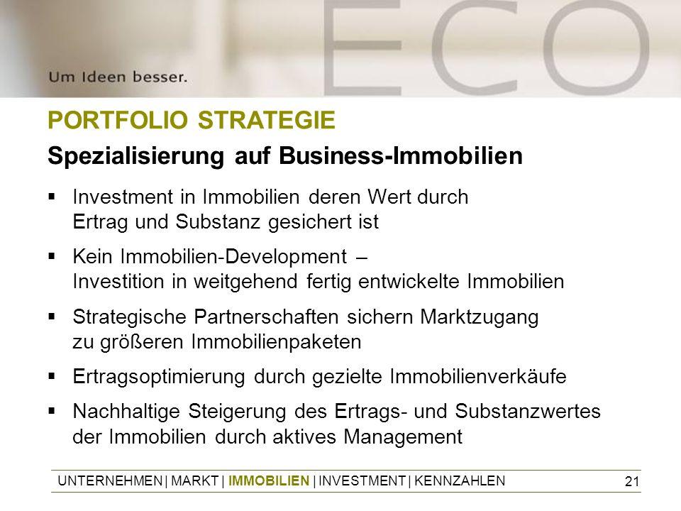 21 PORTFOLIO STRATEGIE Spezialisierung auf Business-Immobilien Investment in Immobilien deren Wert durch Ertrag und Substanz gesichert ist Kein Immobi