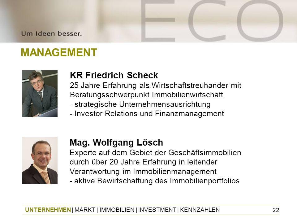 22 MANAGEMENT Mag. Wolfgang Lösch Experte auf dem Gebiet der Geschäftsimmobilien durch über 20 Jahre Erfahrung in leitender Verantwortung im Immobilie
