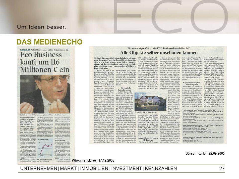 27 DAS MEDIENECHO UNTERNEHMEN | MARKT | IMMOBILIEN | INVESTMENT | KENNZAHLEN Börsen-Kurier 22.09.2005 WirtschaftsBlatt 17.12.2005