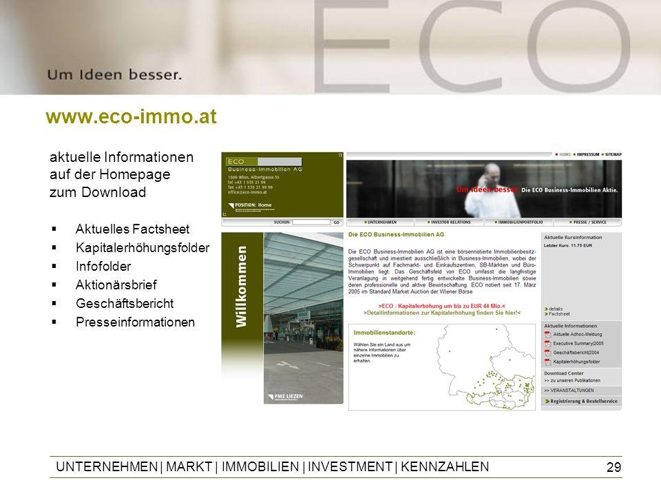 29 www.eco-immo.at UNTERNEHMEN | MARKT | IMMOBILIEN | INVESTMENT | KENNZAHLEN aktuelle Informationen auf der Homepage zum Download Aktuelles Factsheet