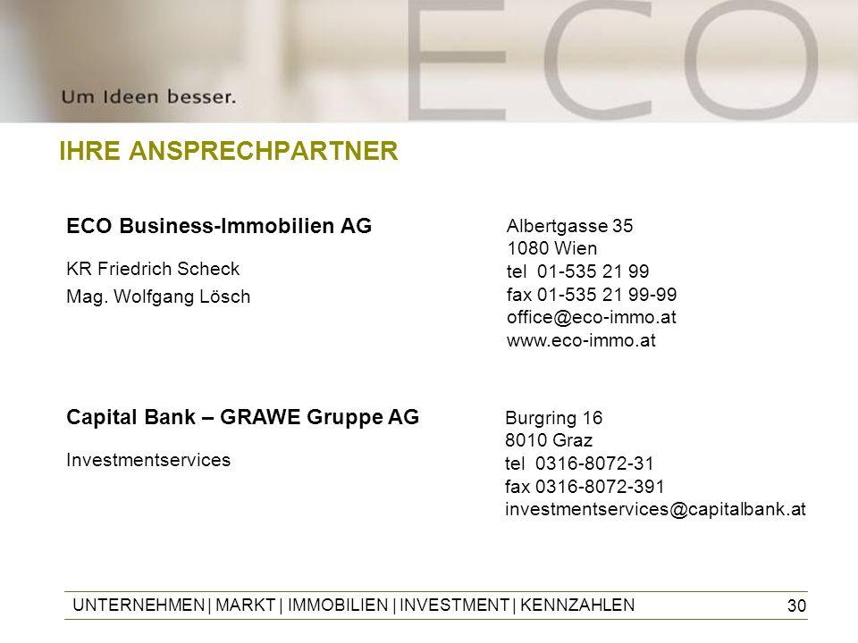 30 IHRE ANSPRECHPARTNER ECO Business-Immobilien AG KR Friedrich Scheck Mag. Wolfgang Lösch UNTERNEHMEN | MARKT | IMMOBILIEN | INVESTMENT | KENNZAHLEN
