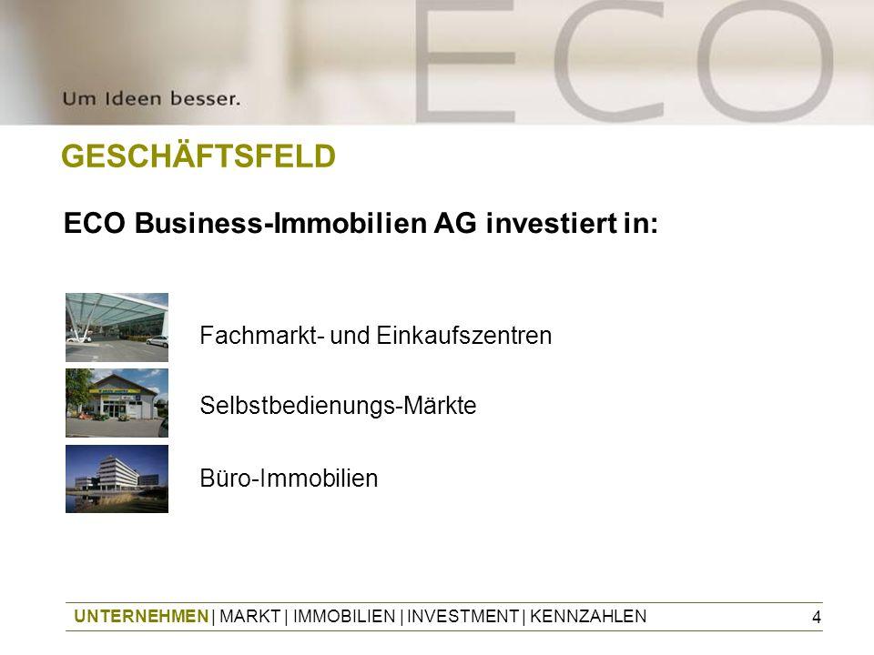 4 GESCHÄFTSFELD Fachmarkt- und Einkaufszentren Selbstbedienungs-Märkte Büro-Immobilien ECO Business-Immobilien AG investiert in: UNTERNEHMEN | MARKT |