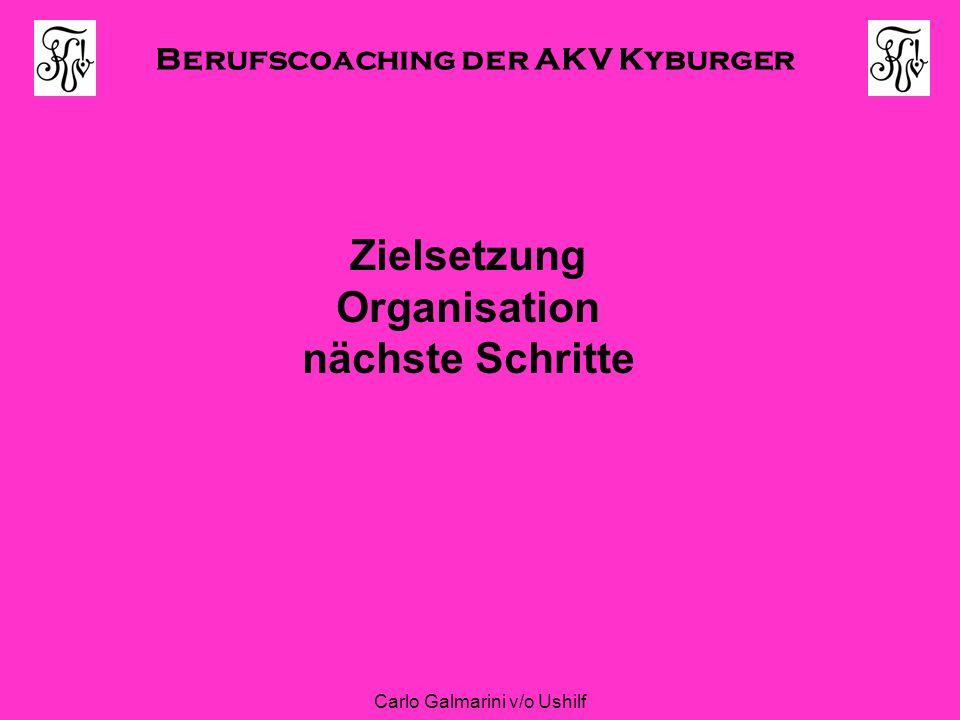 Berufscoaching der AKV Kyburger Carlo Galmarini v/o Ushilf Zielsetzung Organisation nächste Schritte
