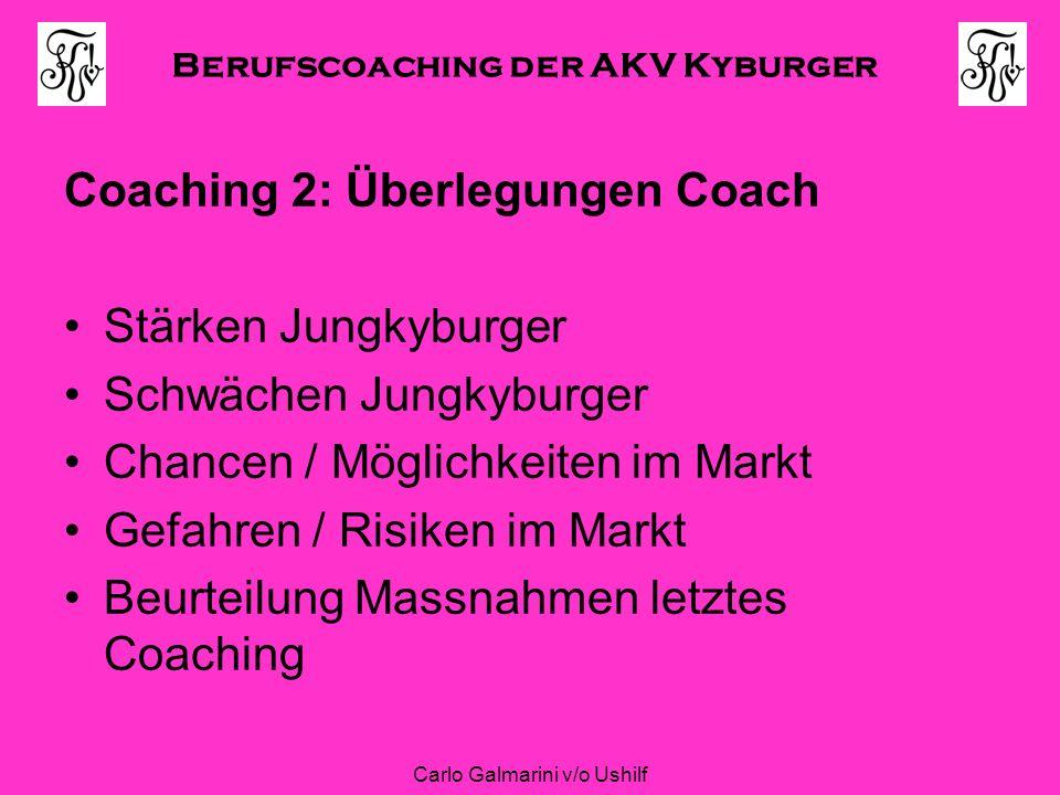 Berufscoaching der AKV Kyburger Carlo Galmarini v/o Ushilf Coaching 2: Überlegungen Coach Stärken Jungkyburger Schwächen Jungkyburger Chancen / Möglic