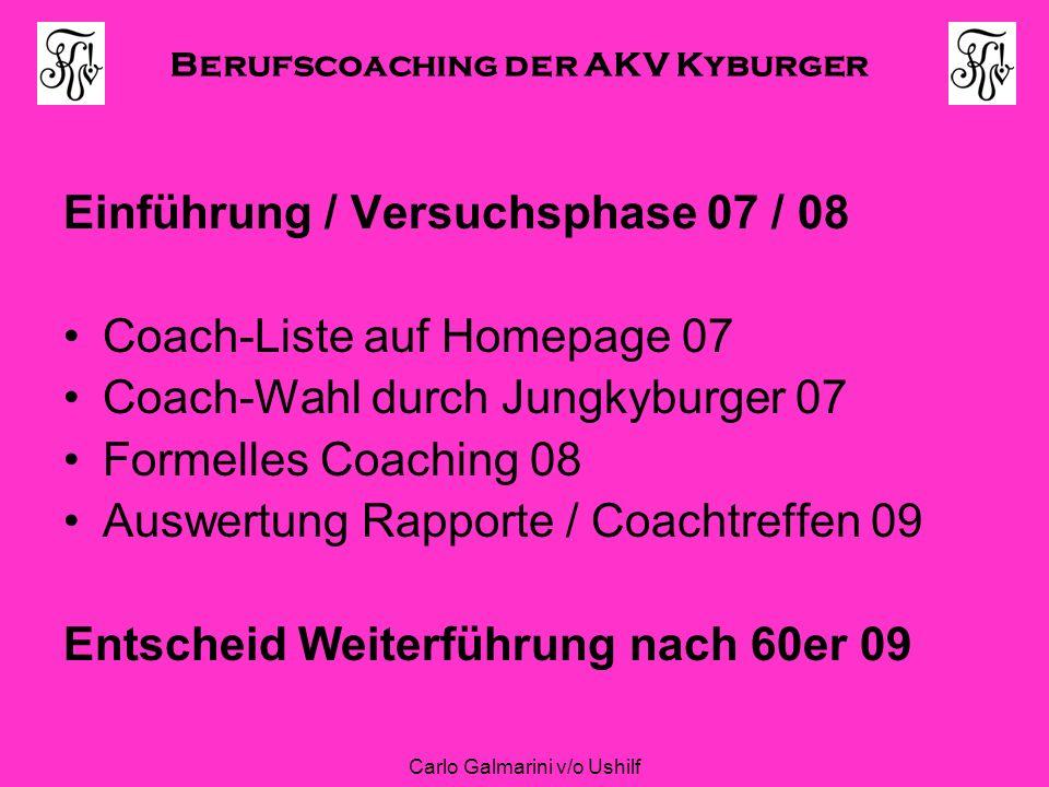 Berufscoaching der AKV Kyburger Carlo Galmarini v/o Ushilf Einführung / Versuchsphase 07 / 08 Coach-Liste auf Homepage 07 Coach-Wahl durch Jungkyburge