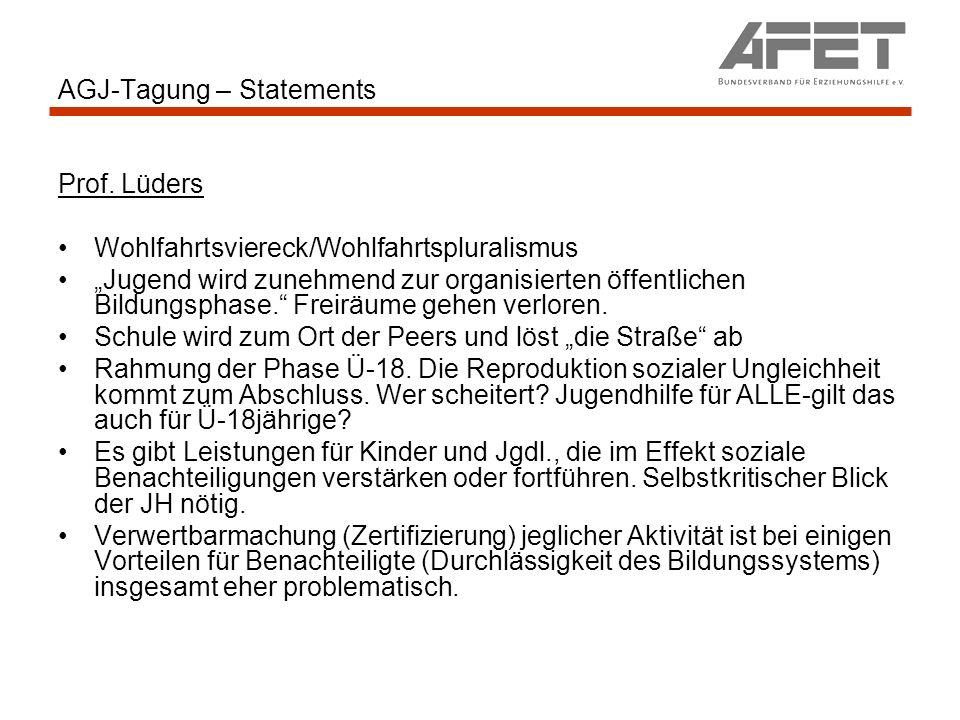 AGJ-Tagung – Statements Prof. Lüders Wohlfahrtsviereck/Wohlfahrtspluralismus Jugend wird zunehmend zur organisierten öffentlichen Bildungsphase. Freir