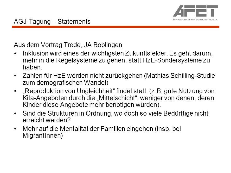 AGJ-Tagung – Statements Aus dem Vortrag Trede, JA Böblingen Inklusion wird eines der wichtigsten Zukunftsfelder.
