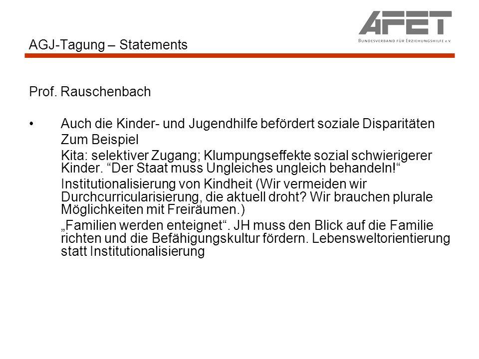 AGJ-Tagung – Statements Prof. Rauschenbach Auch die Kinder- und Jugendhilfe befördert soziale Disparitäten Zum Beispiel Kita: selektiver Zugang; Klump