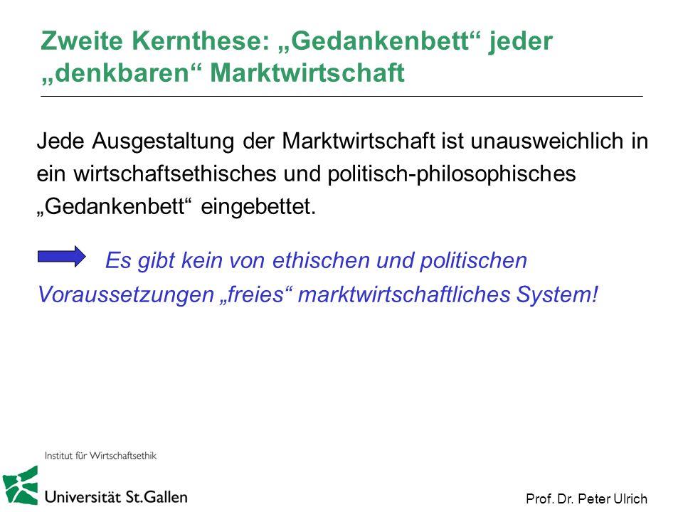 Prof. Dr. Peter Ulrich Zweite Kernthese: Gedankenbett jeder denkbaren Marktwirtschaft Jede Ausgestaltung der Marktwirtschaft ist unausweichlich in ein