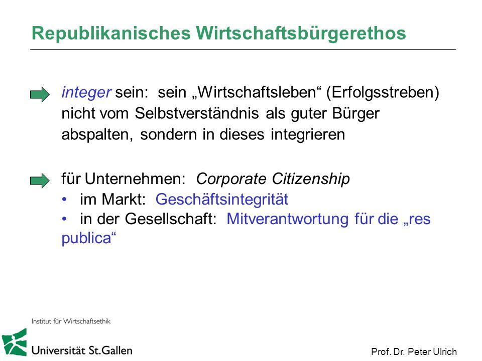 Prof. Dr. Peter Ulrich Republikanisches Wirtschaftsbürgerethos integer sein: sein Wirtschaftsleben (Erfolgsstreben) nicht vom Selbstverständnis als gu