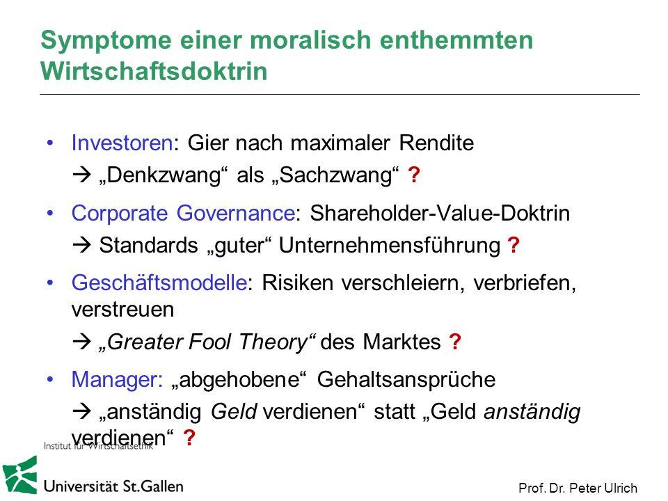 Prof. Dr. Peter Ulrich Symptome einer moralisch enthemmten Wirtschaftsdoktrin Investoren: Gier nach maximaler Rendite Denkzwang als Sachzwang ? Corpor
