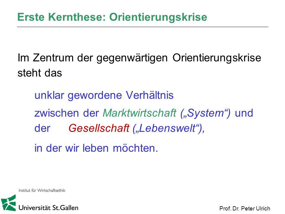 Prof. Dr. Peter Ulrich Erste Kernthese: Orientierungskrise Im Zentrum der gegenwärtigen Orientierungskrise steht das unklar gewordene Verhältnis zwisc