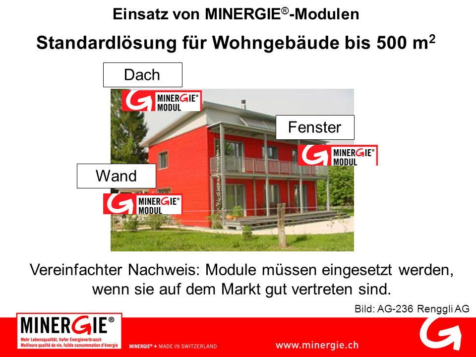 Einsatz von MINERGIE ® -Modulen Standardlösung für Wohngebäude bis 500 m 2 Bild: AG-236 Renggli AG Dach Wand Fenster Vereinfachter Nachweis: Module müssen eingesetzt werden, wenn sie auf dem Markt gut vertreten sind.