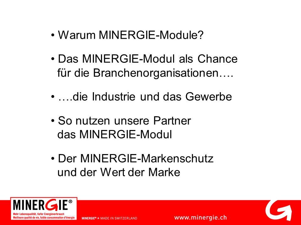 Warum MINERGIE-Module? Das MINERGIE-Modul als Chance für die Branchenorganisationen…. ….die Industrie und das Gewerbe So nutzen unsere Partner das MIN
