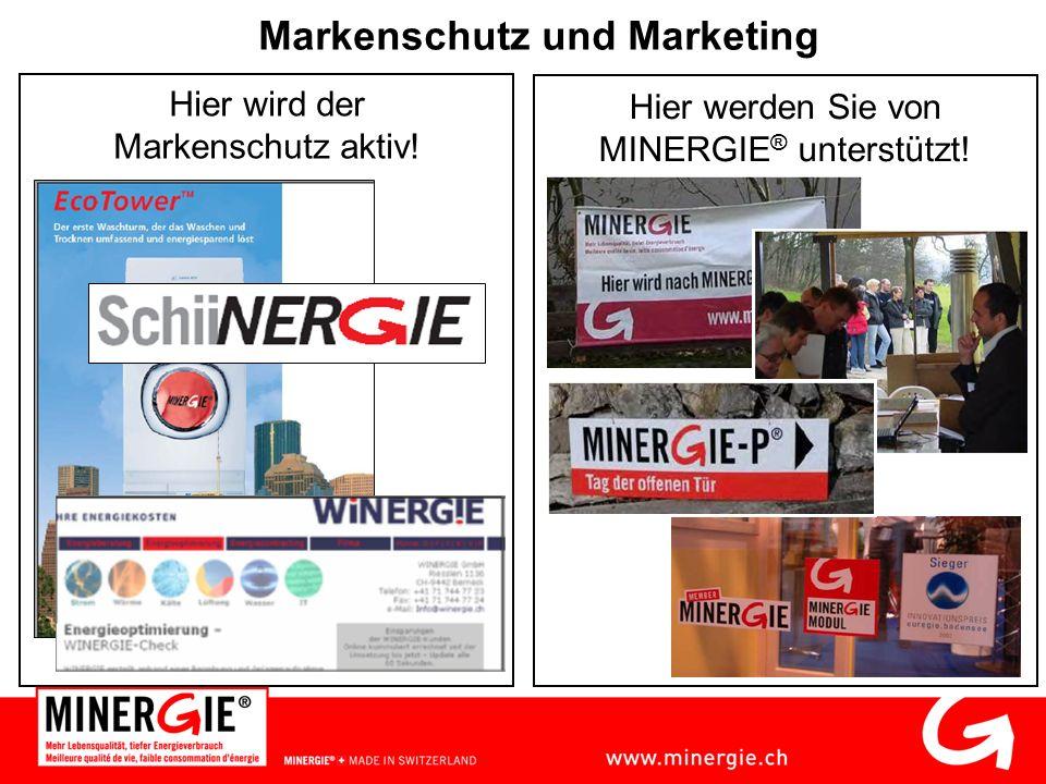 Markenschutz und Marketing Hier wird der Markenschutz aktiv! Hier werden Sie von MINERGIE ® unterstützt!