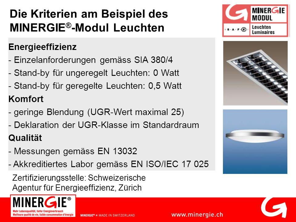 Die Kriterien am Beispiel des MINERGIE ® -Modul Leuchten Zertifizierungsstelle: Schweizerische Agentur für Energieeffizienz, Zürich Energieeffizienz - Einzelanforderungen gemäss SIA 380/4 - Stand-by für ungeregelt Leuchten: 0 Watt - Stand-by für geregelte Leuchten: 0,5 Watt Komfort - geringe Blendung (UGR-Wert maximal 25) - Deklaration der UGR-Klasse im Standardraum Qualität - Messungen gemäss EN 13032 - Akkreditiertes Labor gemäss EN ISO/IEC 17 025