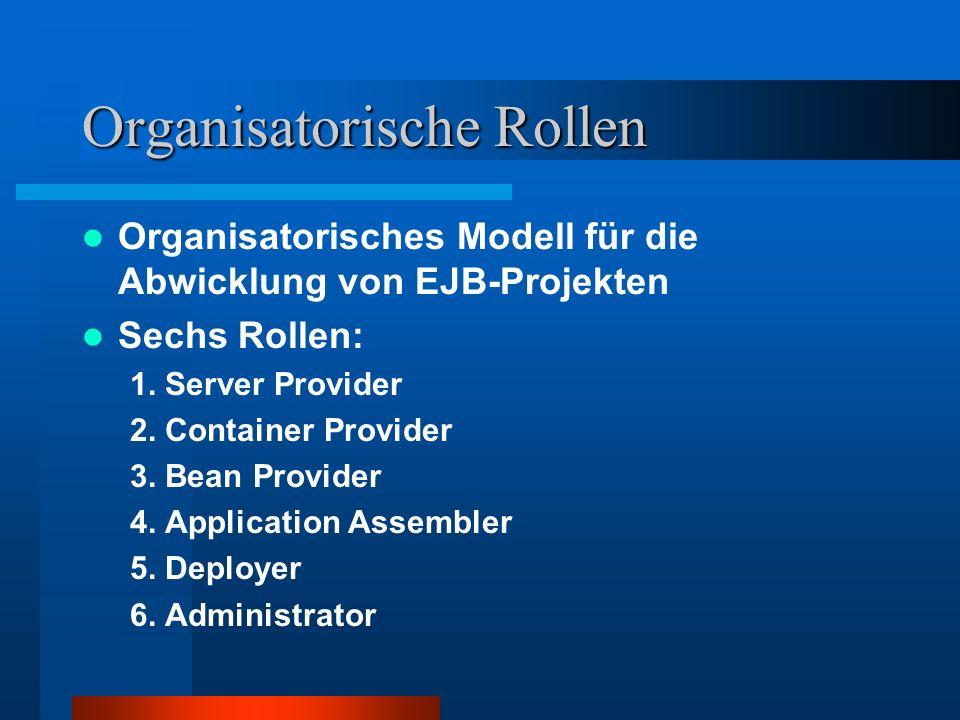 Organisatorische Rollen Organisatorisches Modell für die Abwicklung von EJB-Projekten Sechs Rollen: 1. Server Provider 2. Container Provider 3. Bean P