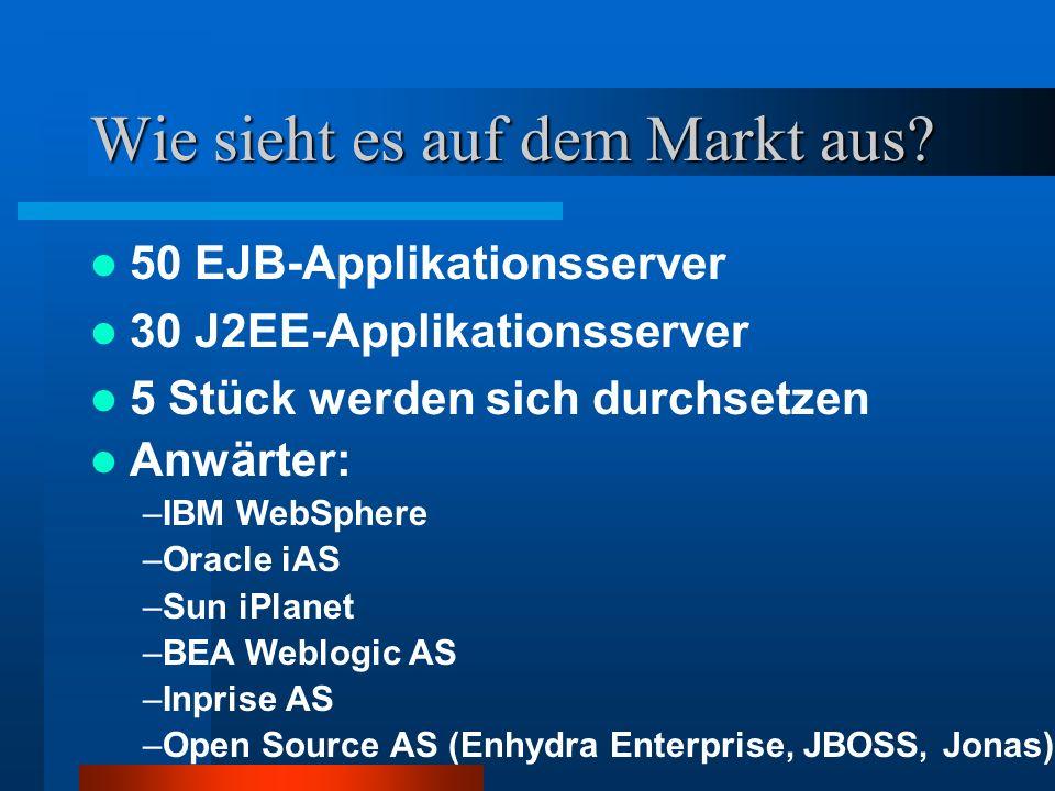 Wie sieht es auf dem Markt aus? 50 EJB-Applikationsserver 30 J2EE-Applikationsserver 5 Stück werden sich durchsetzen Anwärter: –IBM WebSphere –Oracle