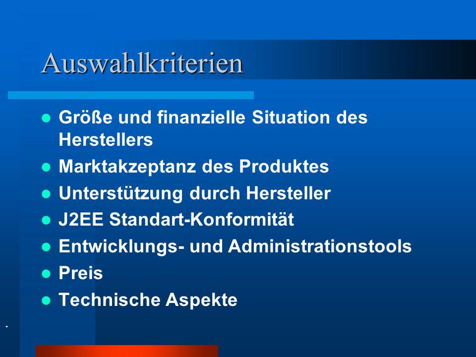 Auswahlkriterien Größe und finanzielle Situation des Herstellers Marktakzeptanz des Produktes Unterstützung durch Hersteller J2EE Standart-Konformität